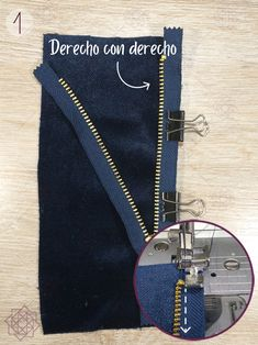 Cómo coser cremalleras en 3 pasos. Aprender a coser. Técnicas de costura. Costura fácil paso a paso. Design Blog, Sewing Hacks, Personalized Items, Jeans, Fondant, Pastel, Vestidos, Beginner Sewing Projects, Learn To Sew