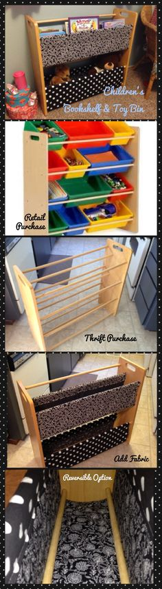 DIY Children's Bookshelf & Toy Bin.  Made from an old storage bin rack and fabric. Black & White.