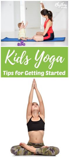 Yoga for kids. Tips on how to start a yoga practice. Toddlers preschoolers and kids of all ages can benefit by doing this stress releasing exercise. Learn beginning poses basic sequences activities and ideas to teach kids yoga. Toddler Yoga, Baby Yoga, Yoga For Kids, Exercise For Kids, Teaching Yoga To Kids, Exercise Routines, Exercise Motivation, Preschool Yoga, Free Yoga Videos