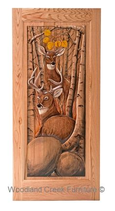 """Rustic Carved Screen Door with Ducks & Fish Item #SD00105 36""""W x 80""""T x 1""""D Single Sided Carving - $1195 Add $495 for Double Sided Carving."""