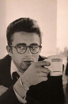 James Dean drinking coffee