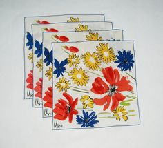 Set of four colorful floral napkins by Vera by HappyCloudImports, $16.00