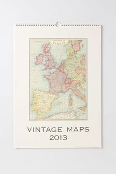 vintage maps wall calendar. want this for the office!