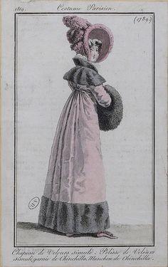 Velvet coat trimmed with chinchilla! Regency Dress, Regency Era, German Fashion, French Fashion, Victorian Fashion, Vintage Fashion, Victorian Dresses, Victorian Gothic, Gothic Lolita