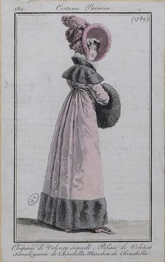 Velvet Pelisse trimmed with Chinchilla fur - Paris, France - 1819