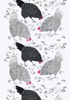 Kanaset, black, white, design by Vilma Pellinen