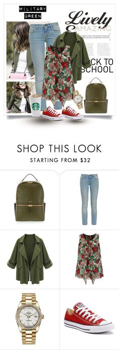 """School look"" by kkotarac ❤ liked on Polyvore featuring Henri Bendel, Yves Saint Laurent, Anna Sui, Rolex and Converse"