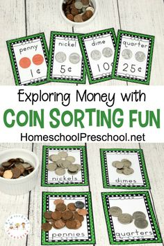Is your preschooler (or kindergartener) working on recognizing coins? These FREE printable Coin Sorting Mats are a great way to introduce the coins and their value to your little ones. :: www.thriftyhomeschoolers.com