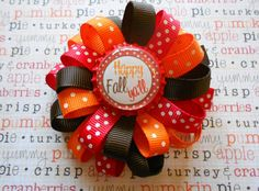 Happy Fall Loopy flower hair bow by AllThingsGirlyBows on Etsy,