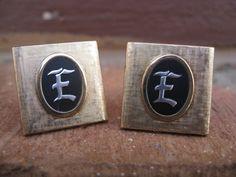 Vintage Monogram E Cufflinks Gold & Black Wedding by TreeTownPaper, $28.00
