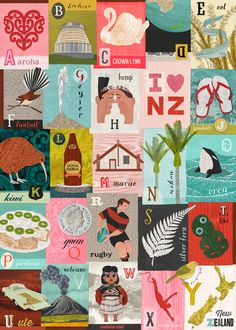 NZ Alphabet gift wrap by Tanya Wolfkamp, published by Live Wires NZ Ltd.