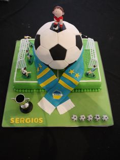 Soccer ball cake 2 - This is a cake for my 5 year old boy, who is a football fan!