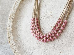 Dusty rose pink necklace Natural linen necklace with by boorashka, $18.00