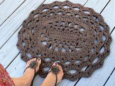 Algodón Oval encaje grueso tapetito de cocina o baño alfombra de ganchillo en Taupe oscuro o elegir su color con fondo de agarre