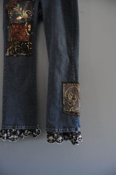 Plus size 16 Ruffled denim painted patchwork by WiseSewcialTies, $99.00