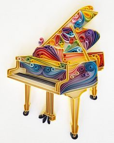Embroidery Paper Handmade Quilling Paper Art with Piano. The piano is made with paper strips. Dimensions of the picture: Please let me know through ETSY Conversation if you have any questions! more wall art: Arte Quilling, Paper Quilling Patterns, Origami And Quilling, Quilled Paper Art, Quilling Paper Craft, Paper Crafts, Quilling Ideas, Paper Embroidery, Learn Embroidery
