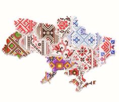 Patchwork of embroidery makes up a map of Ukraine