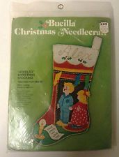 "Vintage BUCILLA ""WAITING FOR SANTA"" 2811 Felt Stocking Kit Christmas Boy & Girl Felt Stocking Kit, Felt Christmas Stockings, Needlepoint Kits, Felt Ornaments, Dear Santa, Mantle, Little Boys, Baby Dolls, Waiting"