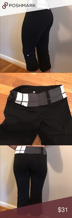 Lululemon Capri workout stretch leggings Great condition size 6 workout leggings from lululemon. Tag on inside is torn out. Lululemon symbol on outside and inside. Black with block pattern on waist band. Excellent condition. Nonsmoking home. lululemon athletica Pants Leggings