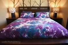 Blue and Purple Duvet Cover-Comforter Cover-Tie Dye by LKBcolour  -- Beautiful products like this can be custom made for you by our members at http://DigiColorCreations.com.