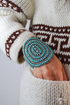 VTG old pawn ZUNI native american TURQUOISE