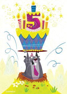 Gopher 5th Birthday Card
