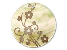 Lillypilly Design Mother of Pearl Round Pendant 46mm - Toffee Forget-Me-Not Flowers with Vines
