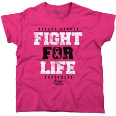Breast Cancer Shirt Pink Ribbon Shirt Awareness Shirt Fight for Life... ($9.99) ❤ liked on Polyvore featuring tops, t-shirts, black, women's clothing, black shirt, black tee, print tees, pink black shirt and pink tee