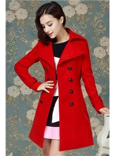 Red Double Breasted Lapel  Trench Coat