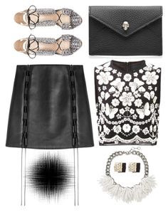 """Black + White"" by cherieaustin ❤ liked on Polyvore featuring Loeffler Randall, David Koma, Needle & Thread, Alexander McQueen, Banana Republic and Marc by Marc Jacobs"