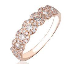 ROSE & KARA Rose gold half-eternity wedding ring