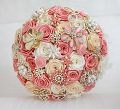 Brooch bouquet. Deposit on a Coral, Ivory and Gold wedding brooch bouquet, Jeweled Bouquet. Made upon request on Etsy, $60.00