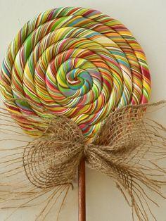 Large Primitive Fairytale Swirl Lollipop Wall Decor