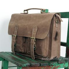 "Vintage Leather Briefcase / Messenger Bag -- with a 14"" 15"" Laptop / 13"" 15"" MacBook Sleeve"