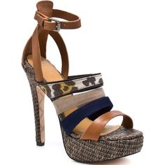 L.A.M.B. Women's Eben - Tan Multi ($199) ❤ liked on Polyvore featuring shoes, sandals, heels, zapatos, scarpe, platform, open toe, stiletto heels, trendy and women
