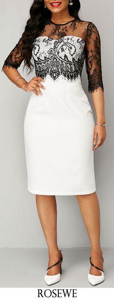 Half Sleeve Lace Mesh Panel Sheath Dress.#Rosewe#dress#elegant