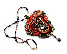 Soutache statement OOAK necklace pendant  elegant - 2014 Custom Statement Necklaces