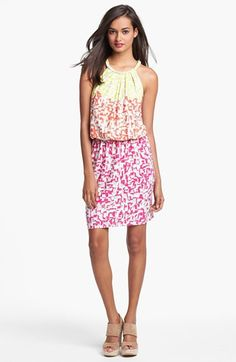Maggy London Print Blouson Dress available at #Nordstrom