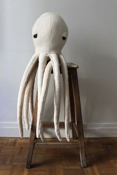 Your place to buy and sell all things handmade Big Albino Octopus Stuffed Animal 0 Plush Toy 0 by BigStuffed Pet Toys, Baby Toys, Kids Toys, Big Stuffed, Stuffed Toys, Octopus Stuffed Animal, Tilda Toy, Sewing Stuffed Animals, Softies