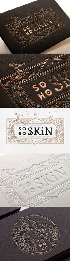 Beautiful Hand Drawn Illustration On A Black And Gold Letterpress Business Card