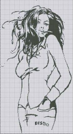 0 point de croix fille moderne - cross stitch modern girl