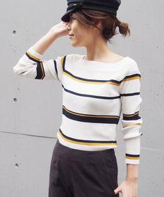 border off shoulder knit - PIPicStats Summer Knitting, Baby Knitting, Knit Shirt, Striped Knit, Knitting Designs, Blouses For Women, Knitwear, Women Wear, Inspiration