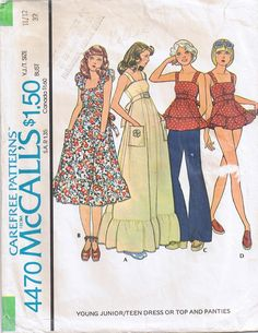 McCall's 4470; ©1975; Young Junior/Teen Dress or Top and Panties.