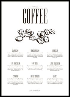 Sleek and stylish kitchen art about coffee. Perfect in the modern kitchen and home. In our webshop you can find more stylish prints and kitchen art, but also other types of prints for your home. Kitchen Posters, Kitchen Prints, Kitchen Wall Art, Type Posters, Buy Posters, Retro Poster, Vintage Posters, Poster Poster, Bon Appetit