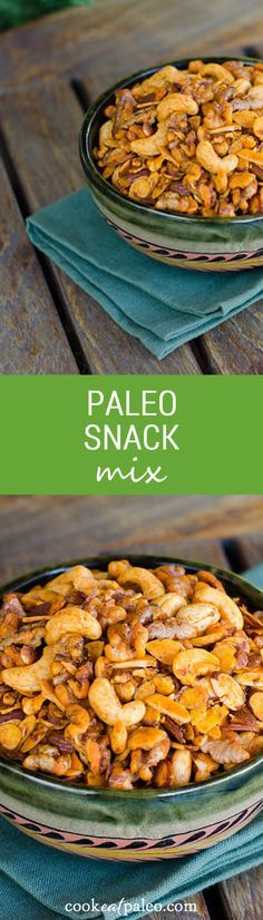 """This paleo snack mix is addictive. Salty, smoky and garlicky, it reminds me of traditional bar snacks, but without the not-so-desirable ingredients. paleo, gluten-free, grain-free, dairy-free ~ <a href=""""http://cookeatpaleo.com"""" rel=""""nofollow"""" target=""""_blank"""">cookeatpaleo.com</a>"""