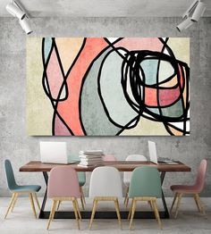 Vibrant Colorful Abstract-0-44. Mid-Century Modern Green Pink