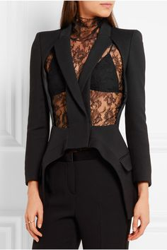 Alexander McQueen | Cutout wool and silk-blend blazer | NET-A-PORTER.COM