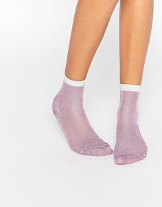 Image 1 of ASOS Glitter Socks With Contrast Tip