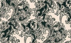 Salsa (99042) - Flamante Wallpapers - Glorious oriental inspired floral waves in rich velvet flock roll across this design. Shown in rich black flock on a cream base. Please ask for a sample for true colour match and to appreciate the beauty of this flock design.