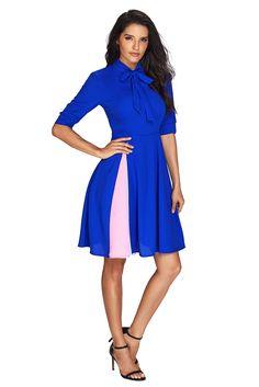 6422077f368 False Slit Splice Royal Blue Bow Tie Vintage Dress. dropship-clothes.com